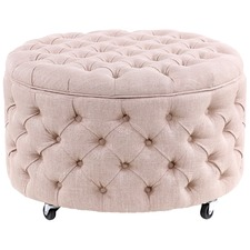 Large Dusty Pink Jessica Round Storage Ottoman