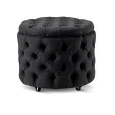 Small Black Jessica Storage Ottoman