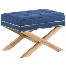 Navy Vanessa Upholstered Footstool
