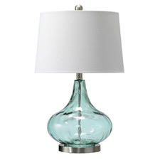 Misty Aqua Tear Drop Table Lamp