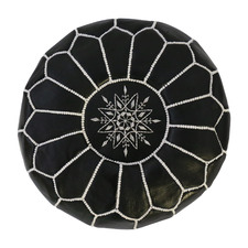 Moroccan Leather Round Ottoman Cover