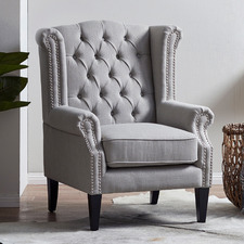 Grey Duke Wingback Armchair