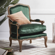 Emerald French Provincial Mila Occasional Chair