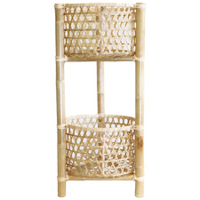Natural Marley 2 Tier Rattan & Bamboo Plant Stand