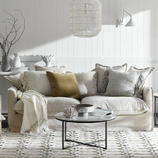 Stone Cumulus Premium 3 Seater Linen Slipcover Sofa