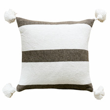 Neutral Stripes Pom Pom Neville Cotton Cushion Cover