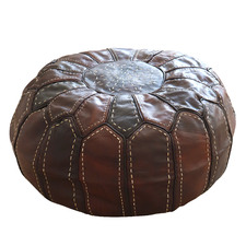 Chocolate Archer Moroccan Leather Ottoman Cover