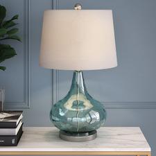 Misty Aqua Tear Drop Table Lamp