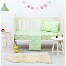 Green Clouds Dreamaker Baby Poly/Cotton Cloud Printed Cot Sheet Set