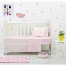 Pink Dreamaker Baby Egyptian Cotton Plain Dyed Cot Sheet Set