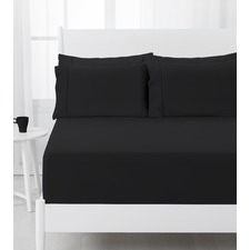 Black Dreamaker Easy Care Plain Dyed Fitted Sheet Set