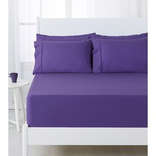Purple Dreamaker Easy Care Plain Dyed Fitted Sheet Set