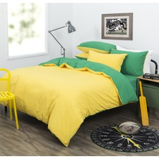 Aussie Green & Gold Dreamaker Easy Care Plain Dyed Reversible Quilt Cover Set
