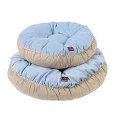 Charlie's Light Blue & Cream Round Dog Bed