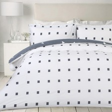 White & Square Printed Egyptian Cotton Quilt Cover Set