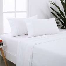 White Plain Cotton Flannelette Sheet Set