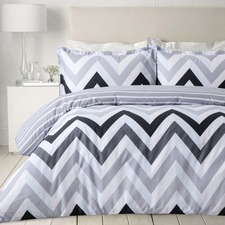 White & Grey Chevron Egyptian Cotton Quilt Cover Set