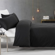 Black Stripe Cotton Quilt Cover Set