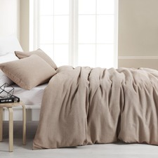 Latte Cotton Waffle Quilt Cover Set