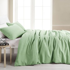 Lime Cotton Waffle Quilt Cover Set