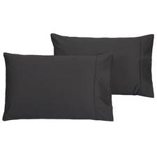 Charcoal Plain Dyed 500TC Cotton Pillowcases (Set of 2)