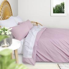 Light Pink Plain Washed Cotton Quilt Cover Set