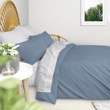 Blue Plain Washed Cotton Queen Quilt Cover Set