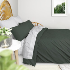 Dark Green Plain Washed Cotton Quilt Cover Set