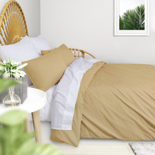 Dark Yellow Plain Washed Cotton Quilt Cover Set