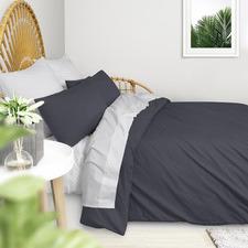 Charcoal Plain Washed Cotton Quilt Cover Set