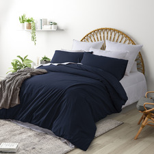 Dark Blue Plain Washed Cotton Quilt Cover Set