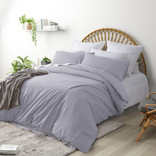 Light Grey Plain Washed Cotton Quilt Cover Set