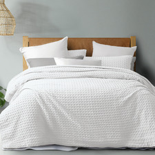 White Cotton Waffle Quilt Cover Set