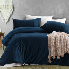 Blue Ripple Velvet Quilt Cover Set