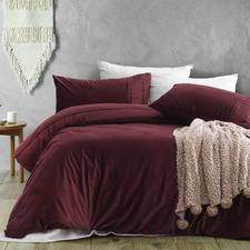Wine Ripple Velvet Quilt Cover Set