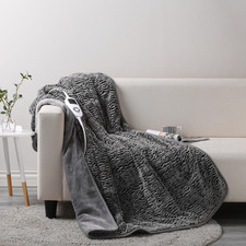 Chinchilla Faux Fur Heated Throw