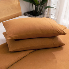 Rust Cotton Jersey Standard Pillowcases (Set of 2)
