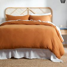 Rust Cotton Jersey Quilt Cover Set