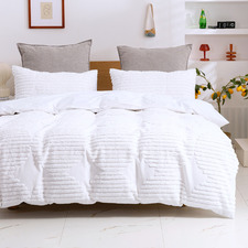 White Darvo 300TC Cotton Quilt Cover Set