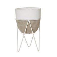 Harmony Cement Pots & Stands (Set of 2) (Set of 2)