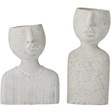 2 Piece Emilie & Emile Cement Decor Set