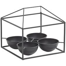 Black Morgan 4 Pot Metal Planters (Set of 2)