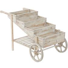 Natural 4 Tier Wooden Flower Cart
