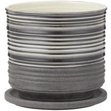 Black Taylor Ceramic Pots with Saucer (Set of 2)