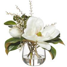 Faux Mixed Magnolia & Willow Plants with Greta Vase (Set of 2)