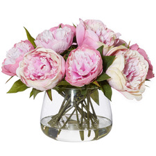 28cm Faux Peonies with Classic Bowl Vases (Set of 2)