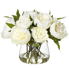 28cm Faux Peonies with Classic Bowl Vase