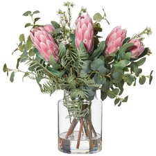 48cm Faux Mixed Protea Bouquet with Pail Vase