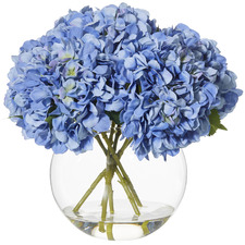 Faux Hydrangea Plant with Spherical Vase