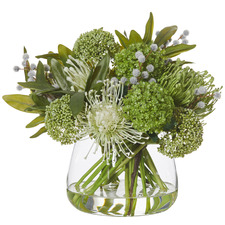 Faux Mixed Native Bouquet with Round Bowl